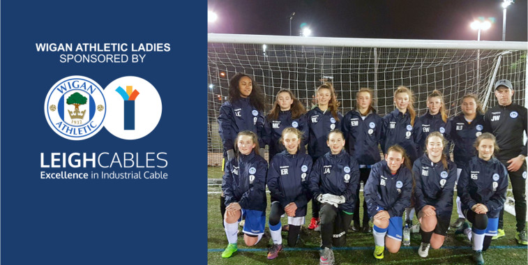 Wigan Athletic Ladies Under 16's Football Team. Sponsored by Leigh Cables.